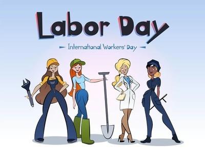 国际工人日人物插画。女工们在劳动节。字符设计向量。妇女的不同职业设置