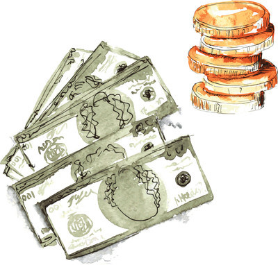 Set hand-painted watercolor - dollars five pieces  and a stack o