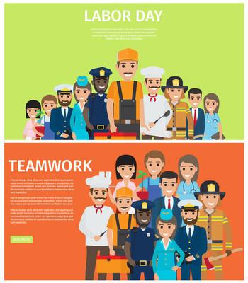 劳动节和团队合作平面矢量网横幅
