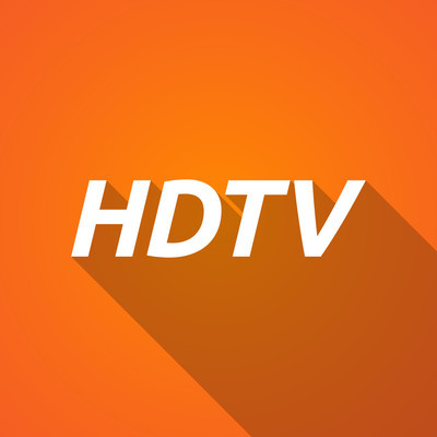 Long shadow illustration of    the text HDTV
