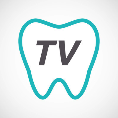 Isolated tooth with    the text TV