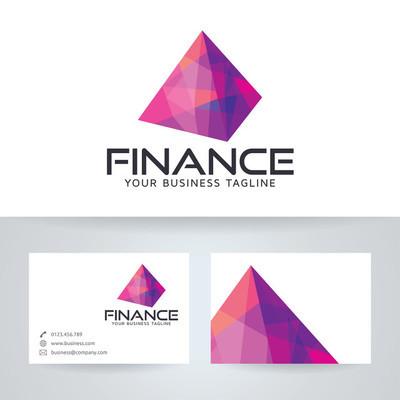 数字金融矢量 logo 与名片模板