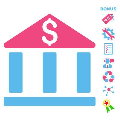 银行办公大楼平面矢量图标与奖金