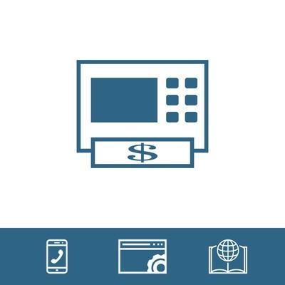 Atm 图标股票矢量插图平面设计