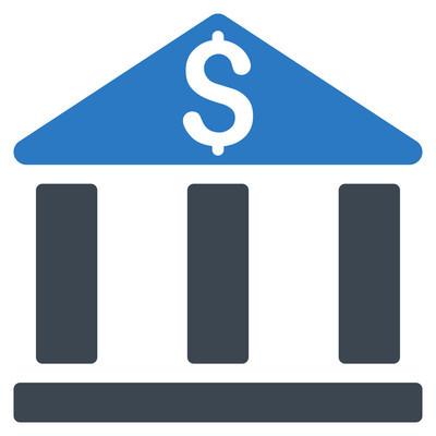 银行办公大楼平面矢量图标