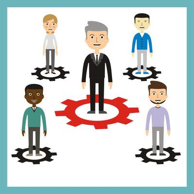 团队合作的概念。领导概念