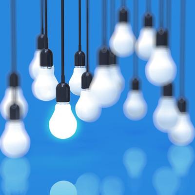 创意想法和领导概念灯泡上蓝色