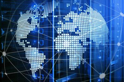 3d 地球作为电信和互联网技术概念