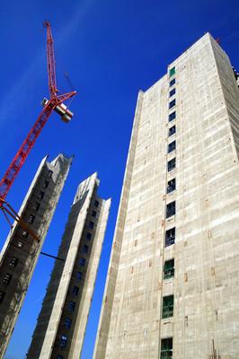 摩天大楼被拆除建筑工地在英格兰伯明翰