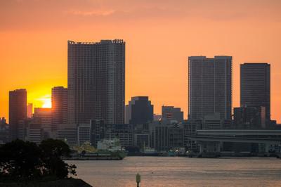 落日在东京的办公大楼