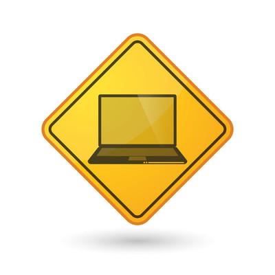Awareness sign with  a laptop