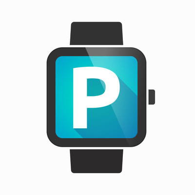 Isolated smart watch with    the letter P