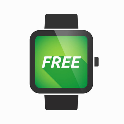 Isolated smart watch with    the text  FREE