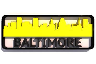 巴尔的摩徽标与基准颜色的旗子的白色的 3d 设计上的城市