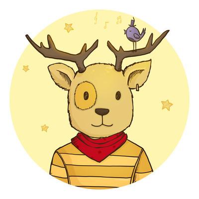 可爱时髦卡通鹿与小鸟简笔画