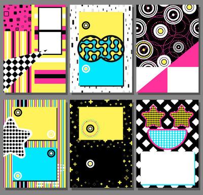 孟菲斯海报设置,卡背景与简单的几何元素,图案时尚潮流 80-90 年代。矢量