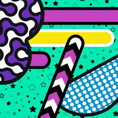 与孟菲斯背景圆几何元素,图案时尚潮流 80-90 年代