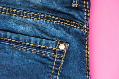 牛仔裤长裤粉红色, 平躺