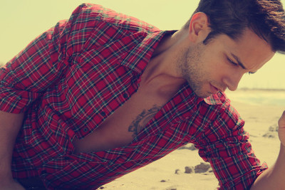Male model on the sand