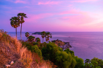 Phromthep 海角观点与美丽的日落暮光天空在普吉岛, 泰国-过滤器效果处理风格