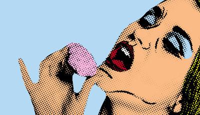 波普艺术喜剧风格的女人,复古海报