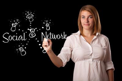 在白板上的女人 draving 社交网络主题