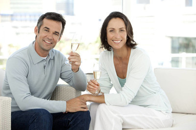 Middle aged  couple flirting