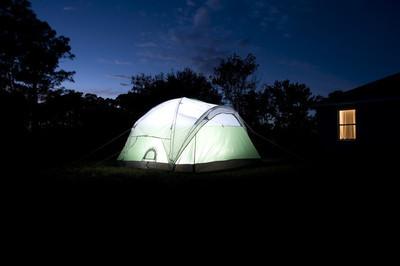 在后院的帐篷
