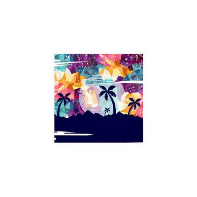 带夏季假期主题的方形图标, 矢量, 插图
