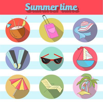 夏季海滩旅游标志图标