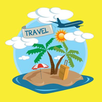 矢量旅游热带岛屿设计