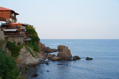 sea coast of Bulgaria with traditional houses