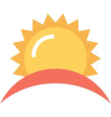 日出平面矢量图标