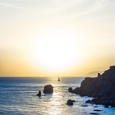 海海岸日落剪影
