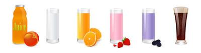 冷饮, 饮料矢量设置隔离在白色背景。插图与牛奶玻璃, 果汁杯, 奶昔为您设计菜单