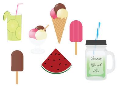夏季食品和饮料矢量 cliparts