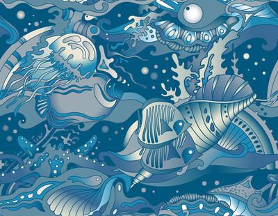 矢量无缝海模式与热带鱼,星星