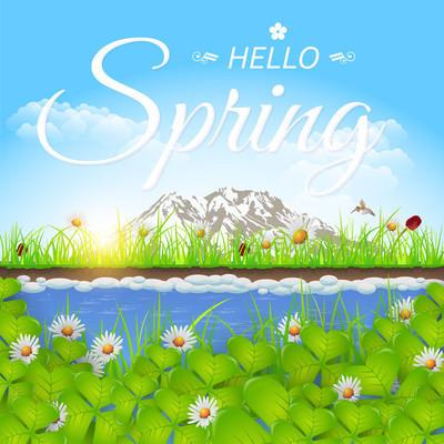 春天风景图,你好春天消息、 贺卡或网站横幅