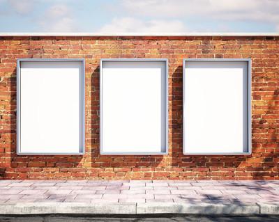 砖墙上的样机广告牌