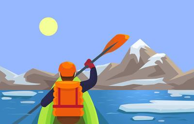 皮划艇。矢量平面插画