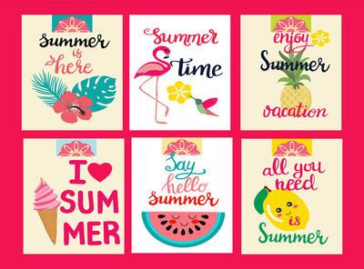 夏季元素卡片, 暑期主题, 旅游, 海滩