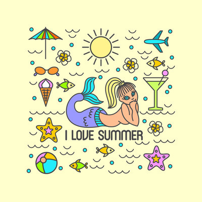 I love summer, vector summer and vacation poster or print for t-shirt in trend linear style - illustration with icons