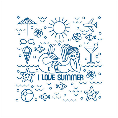 I love summer, vector summer and vacation poster or print for t-shirt in trend linear style - illustration with icons and sign monochrome