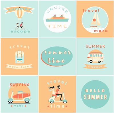 组的夏天标志矢量图
