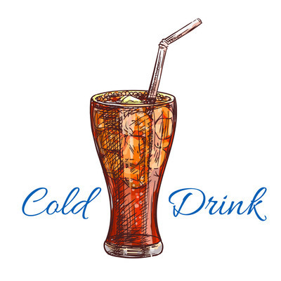 Cold soda drink with ice isolated sketch