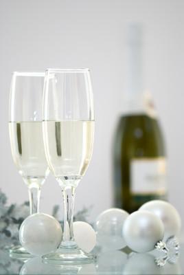 在圣诞节的香槟