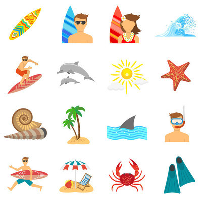 Surfing Icons Flat Set