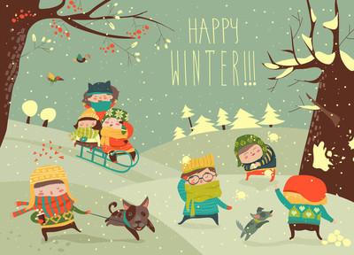 可爱的孩子玩冬季运动会