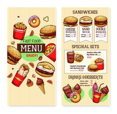 矢量快餐汉堡菜单模板