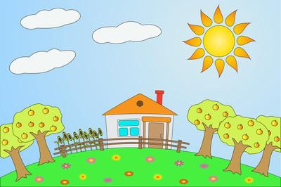 夏季的农村风景图